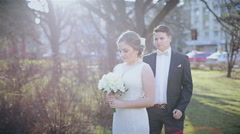 Happy bride and groom on their  wedding Stock Footage