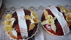 wedding bread on an embroidery towel - stock footage