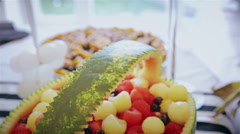Sliced fruits arrangement, juicy food Stock Footage