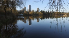 Spring Morning, Lost Lagoon, Stanley Park Vancouver Stock Footage