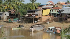 Fishing village at river,Battambang,Cambodia Stock Footage