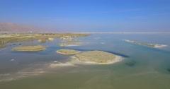Dead Sea Chunks of Salt - aerial shot - stock footage