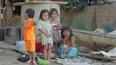 Kids in fishing village,Battambang,Cambodia Stock Footage