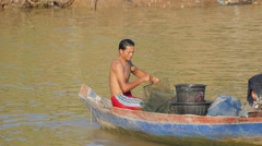 Man fyke fishing,Battambang,Cambodia Stock Footage