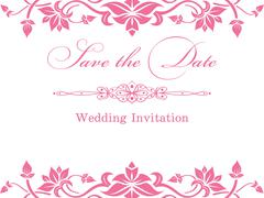 Pink floral wedding invitation template Stock Illustration