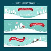 Snowy landscape banners - stock illustration