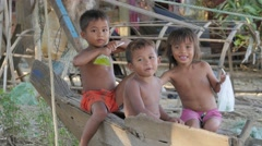 Kids in fishing village,Battambang,Cambodia Stock Footage