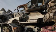 Cars On Scrap Yard Stock Footage