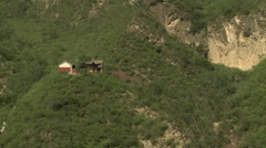 Chinese pavilion on mountain, China Stock Footage