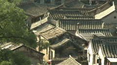 Tiled Chinese rooftops, Cuandixia Village Stock Footage