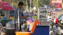Riverfront street food stall,Battambang,Cambodia Stock Footage
