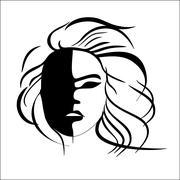 Abstract imitation of Japanese mask black and white - stock illustration
