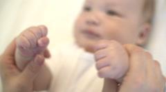 Close Up Parent holding Newborn baby - stock footage