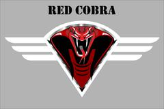 Stock Illustration of red cobra on the white winged metallic shield.