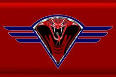 Red cobra on the blue winged metallic shield Stock Illustration