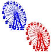 Stock Illustration of Silhouette attraction colorful ferris wheel. Vector illustration