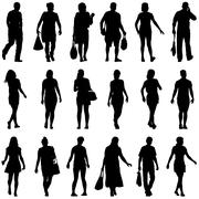 Black silhouettes of beautiful mans and womans on white backgrou - stock illustration