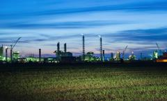 View of the industrial landscape at night - stock photo