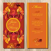 Peacock feathers wedding menu card. Printable Vector illustration - stock illustration