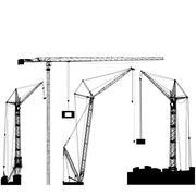 Set of black hoisting cranes isolated on white background. Vector illustratio Stock Illustration