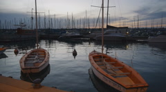 Boats and yachts in harbor Stock Footage