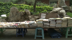 Bookstall in Chinese park Stock Footage