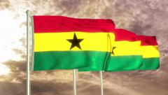 Three flags of Ghana waving in the wind (4K) Stock Footage