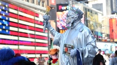 A man dressed as the Statue of Liberty in Times Square Stock Footage