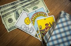 money and Tarot - stock photo