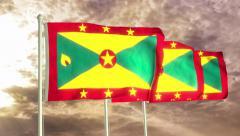 Three flags of Grenada waving in the wind (4K) Stock Footage