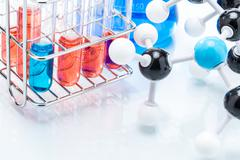 Molecular Structure and colorful liquid Stock Photos