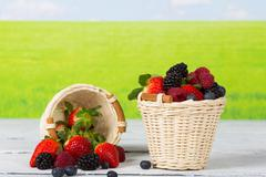 Berries in a basket - stock photo