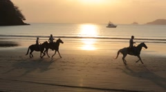 Riders on Horseba pass Women Sun athing in Tropical Beach Stock Footage