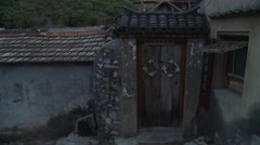 Old village doorway, Cuandixia, China Stock Footage