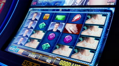 Close up woman playing slot machine - stock footage