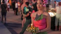 Beautiful thai lady with krathong,Bangkok,Loi Krathong,Thailand Stock Footage