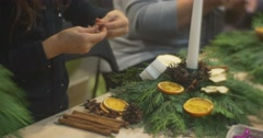 The Christmas Composition of Advent Wreath Branches at the Table New Year's Stock Footage