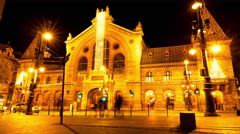 Timelapse view on the famous Market Hall in Budapest Stock Footage