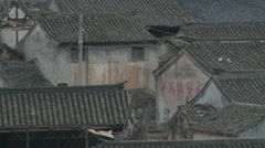 Ming Dynasty village rooftops, China Stock Footage