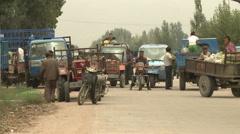Unloading vans, backstreet, Inner Mongolia Stock Footage