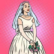 Bride in white wedding dress pop art retro style Stock Illustration