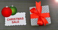 Christmas Sale Banner with Gift Box and rend ribbon - stock photo