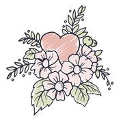 Hand drawn vector design element with heart, flowers, leaves and decorative - stock illustration