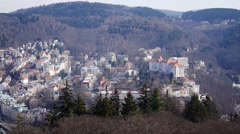 Panoramic view of Carlsbad (Karlovy Vary) Czech Republic Stock Footage