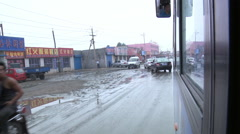Bus ride, traffic, Inner Mongolia, China Stock Footage