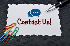 Contact Us Icon with pen and paper pins Stock Photos
