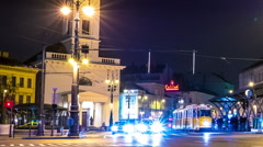 Nightly traffic in Budapest - stock footage