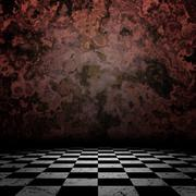 Old room with checkerd floor - stock illustration