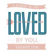 Valentine day or wedding poster.Typography Stock Illustration