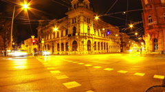Nightly traffic in Szeged Stock Footage